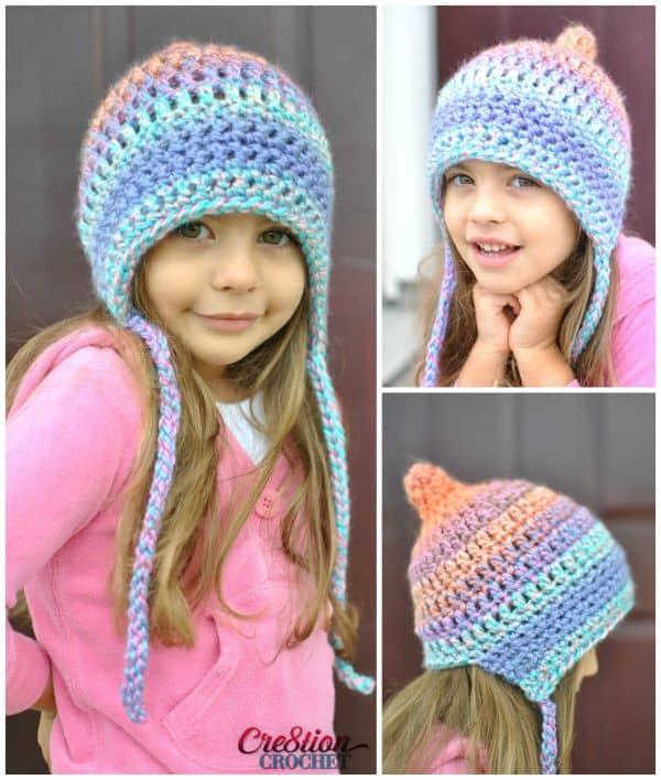 Pastel ear flap hat
