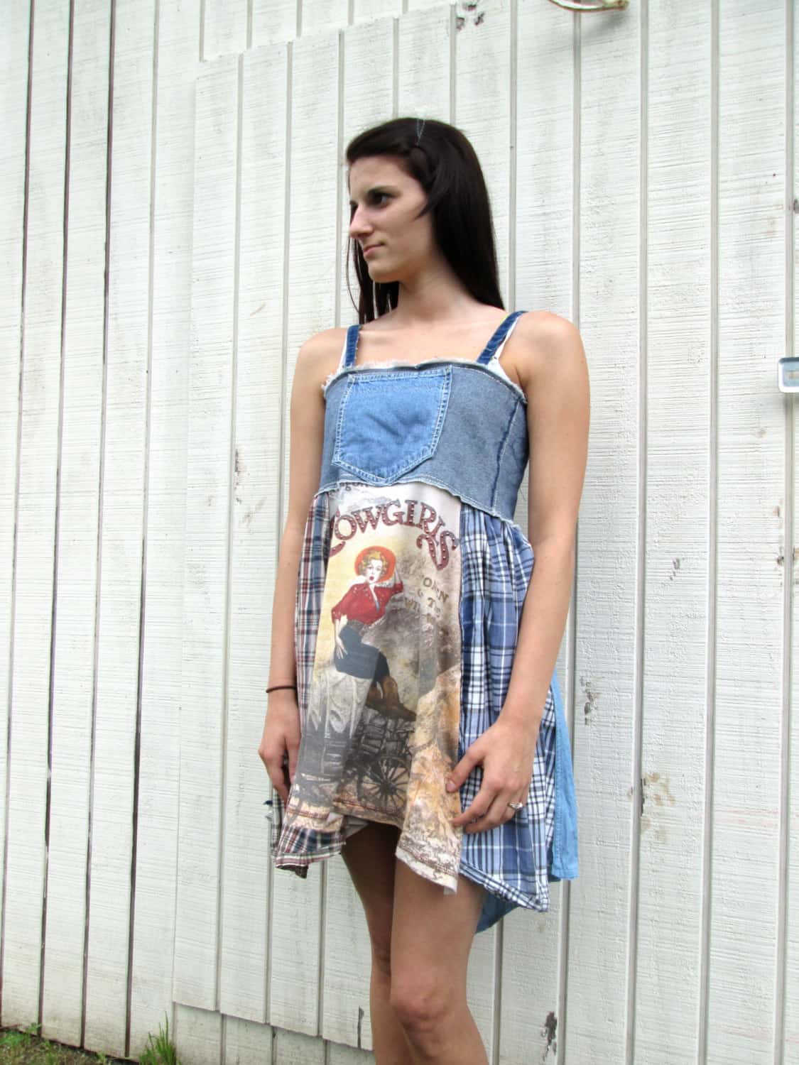 Patchwork denim and logo dress