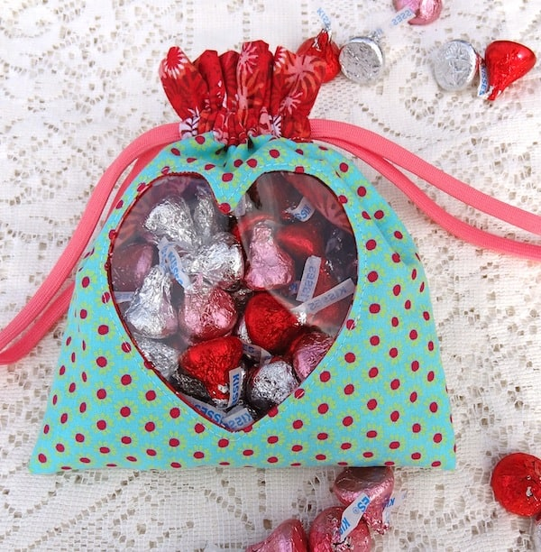Peek-a-boo heart drawstring bag