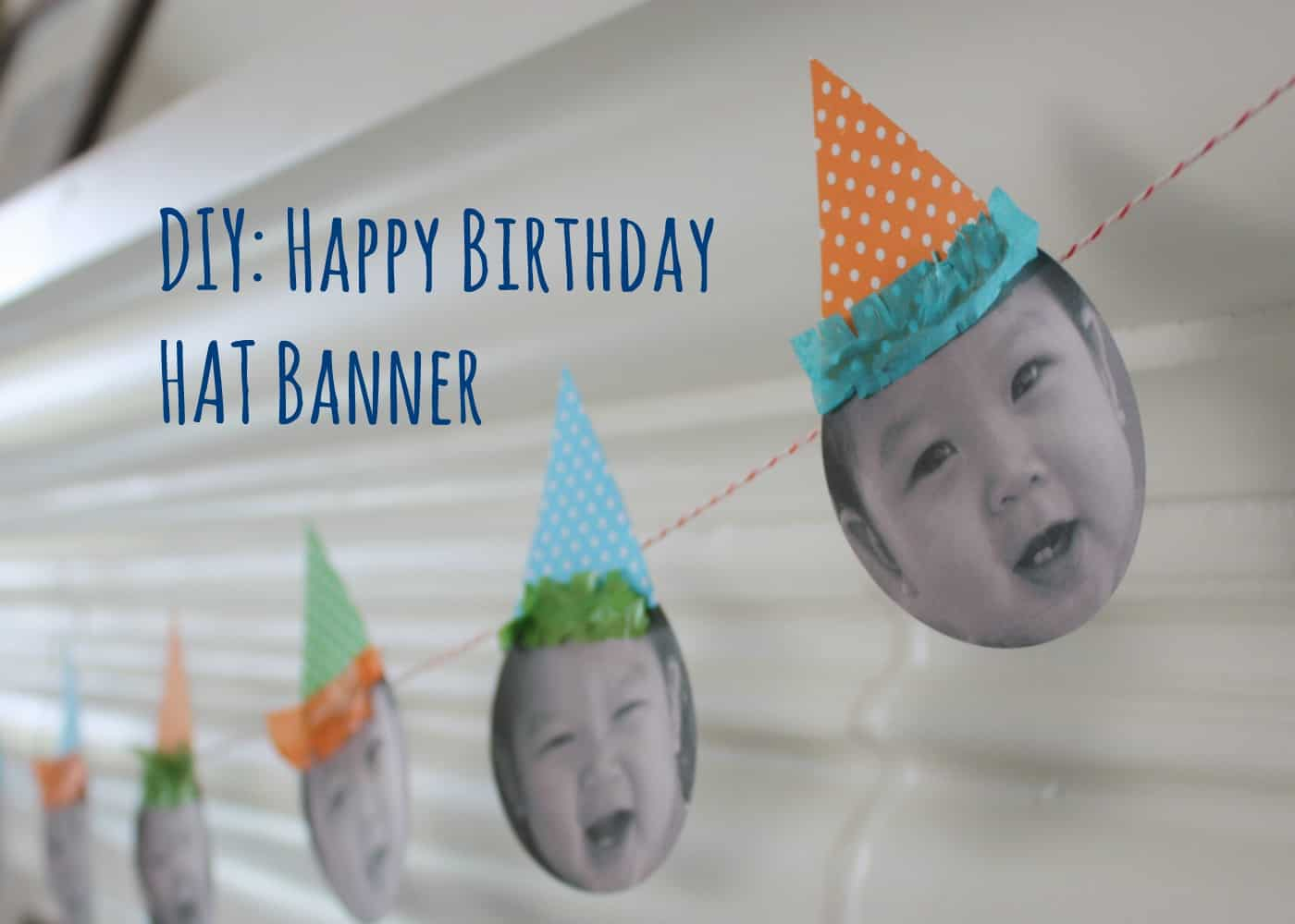 Picture and party hats banner