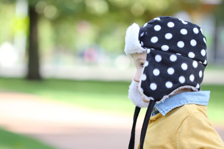 Polka dot ear flap hat