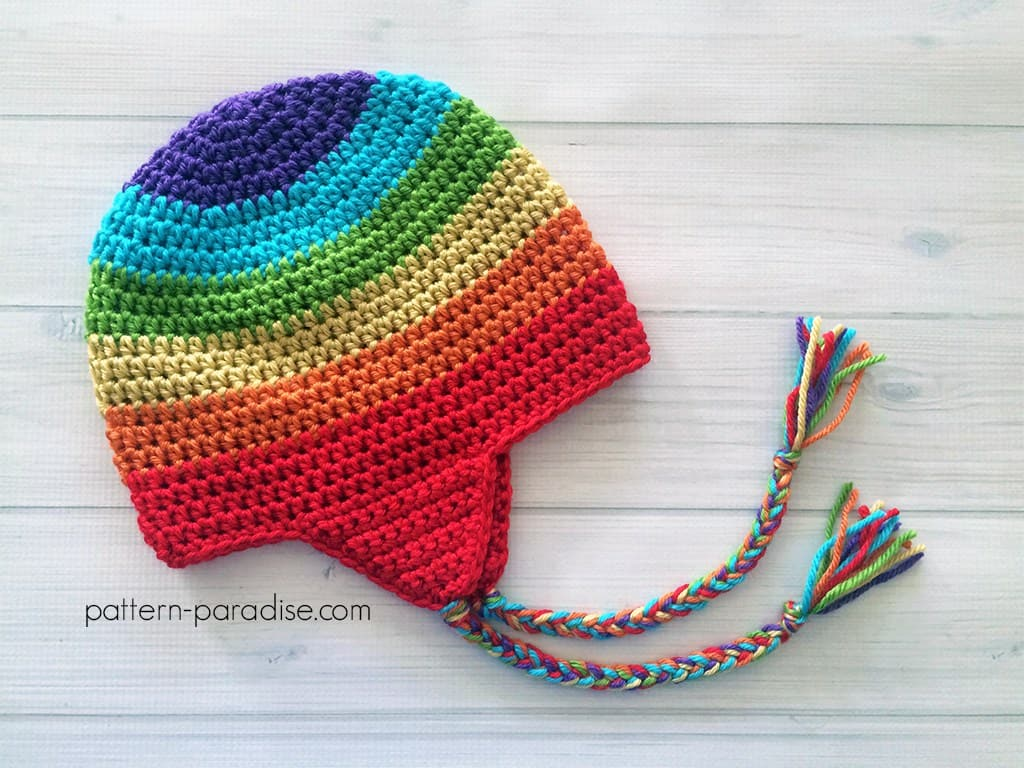 Rainbow ear flap hat