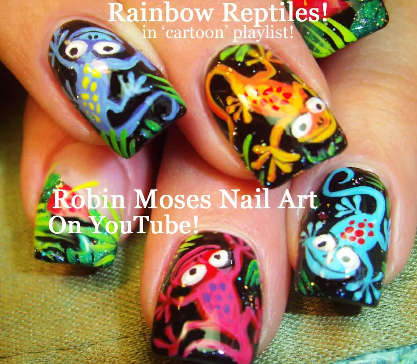 Rainbow reptile manicure