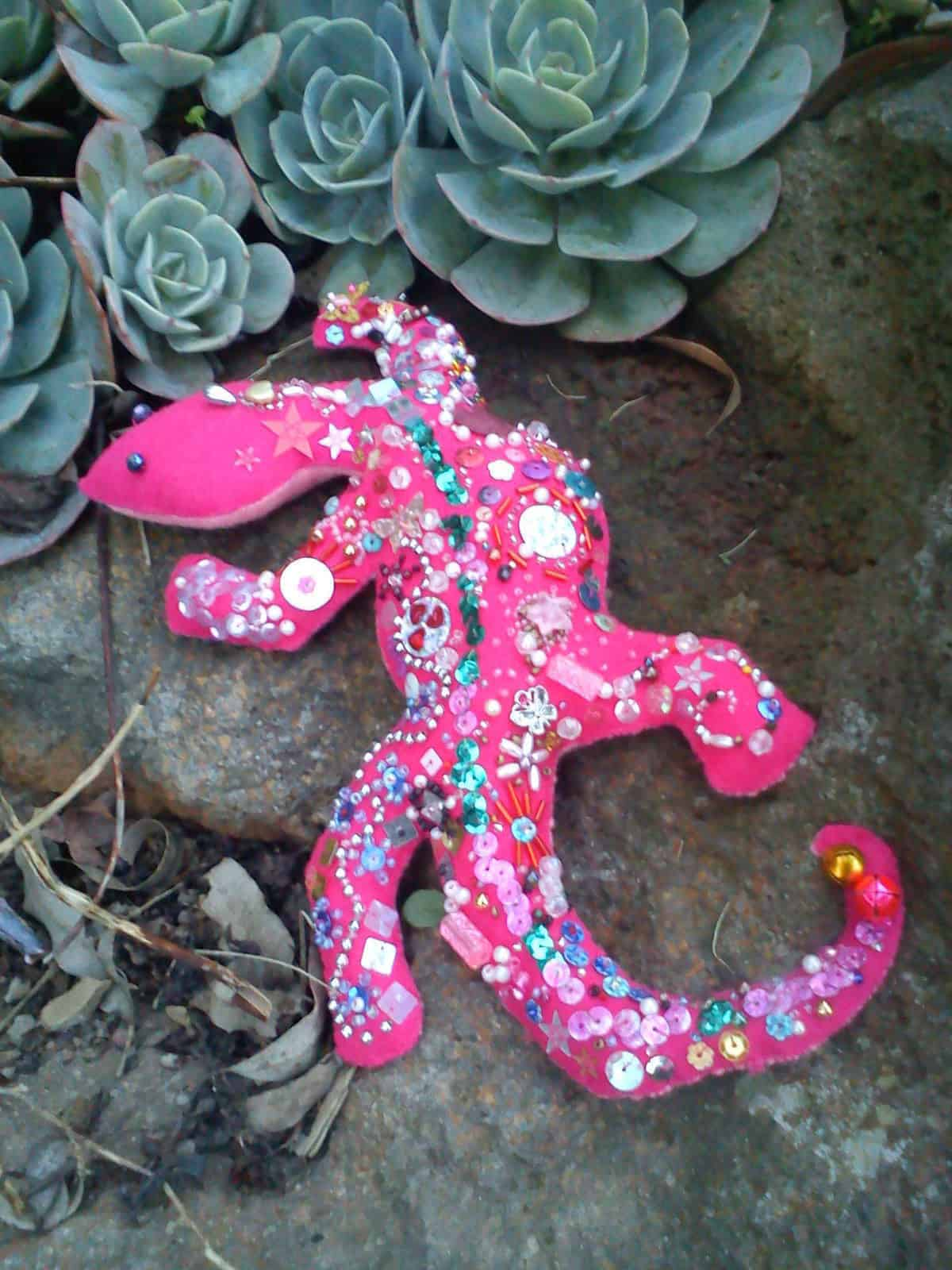 Rice filled felt and bead lizard