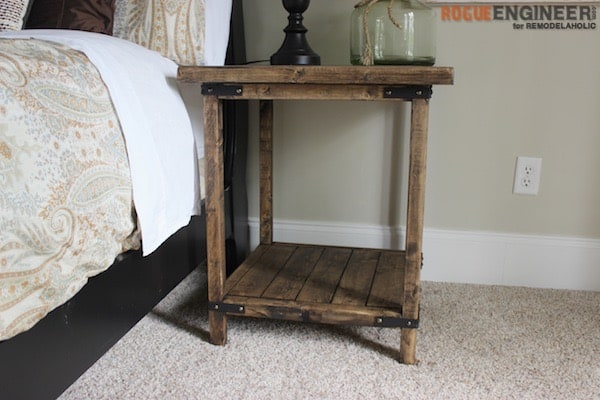 Rustic square nightstand