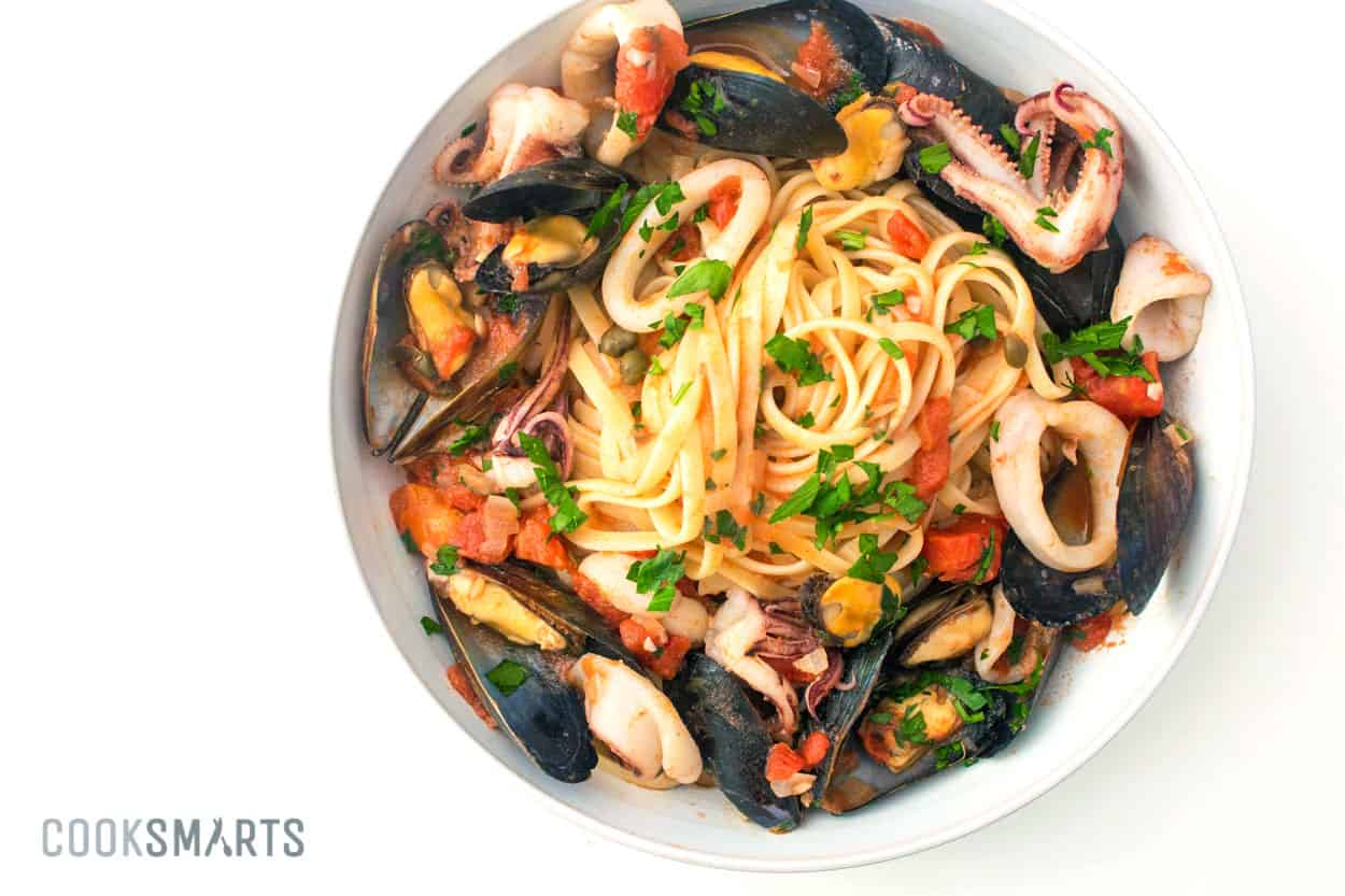 Seafood udon pasta