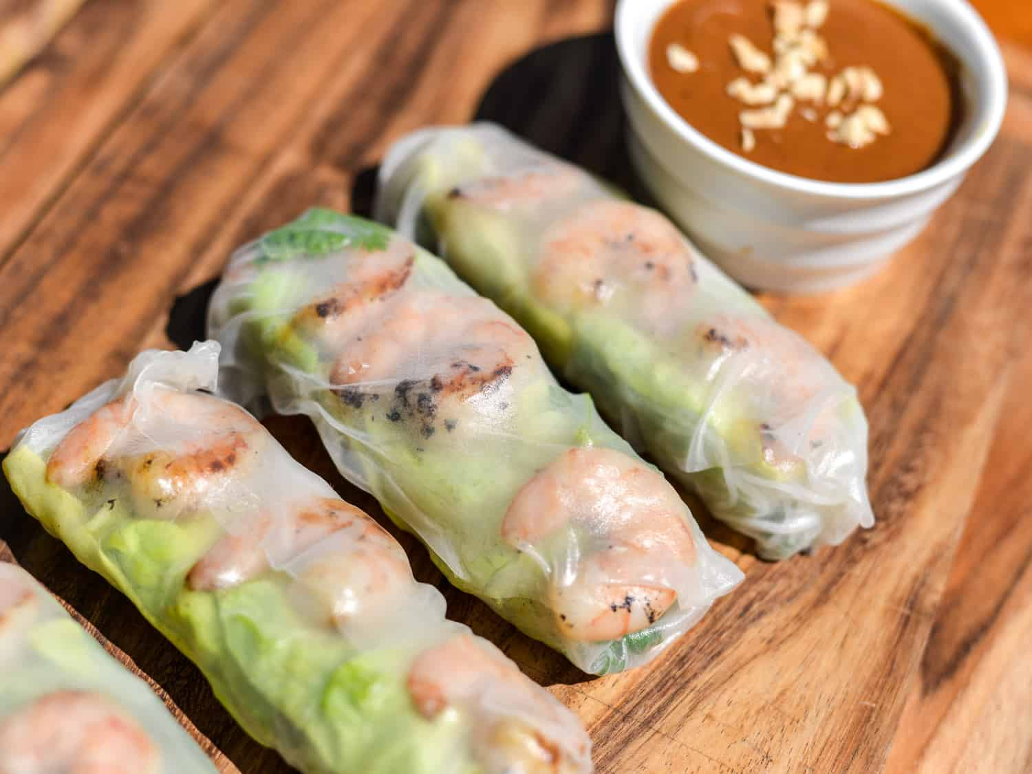 Simple Vietnamese grilled shrimp summer rolls with peanut sauce