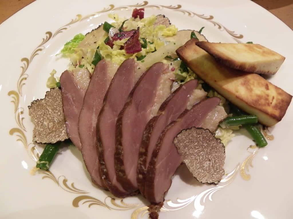 Smoked duck and summer truffle salad with truffle-honey vinaigrette