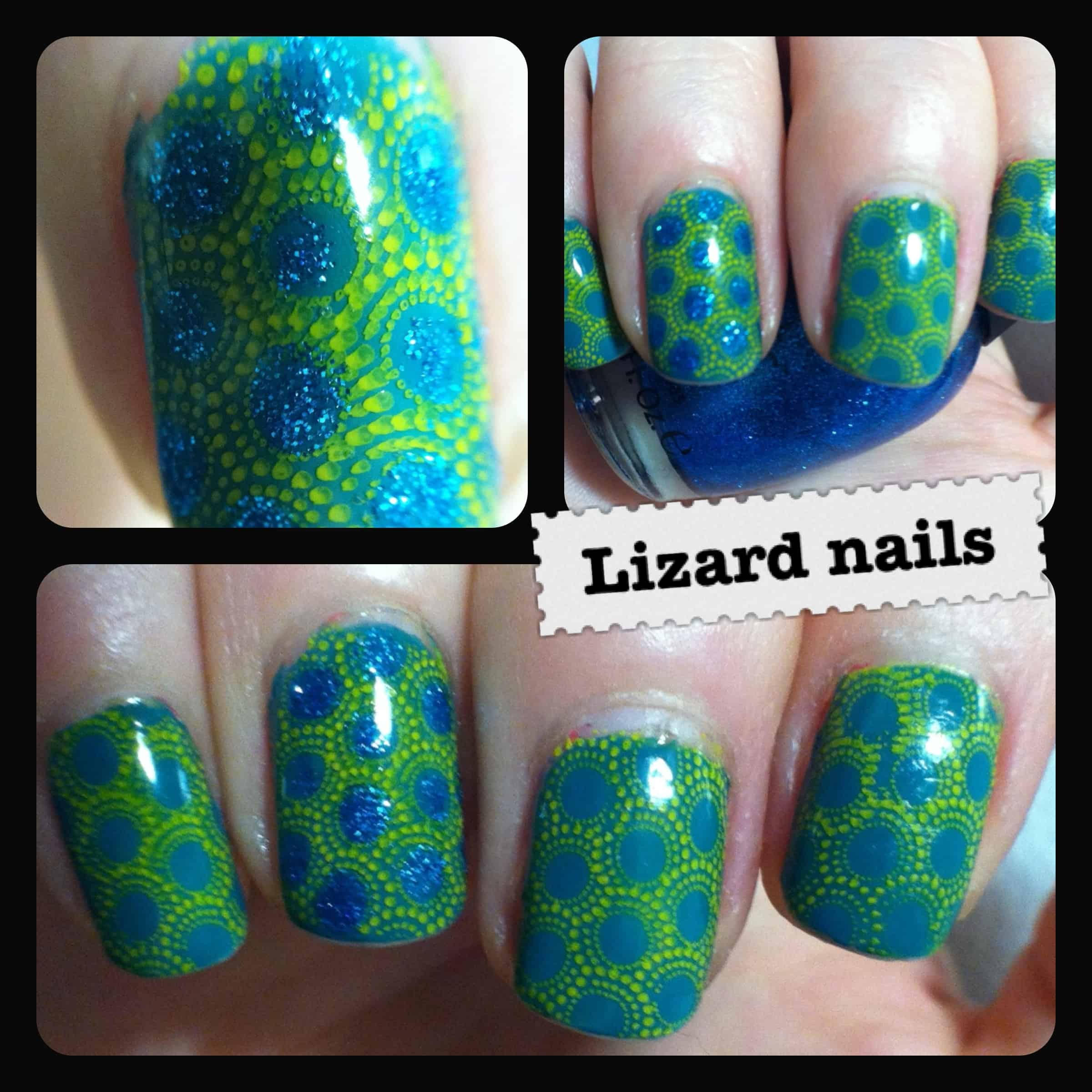 Sparkly lizard scale nails