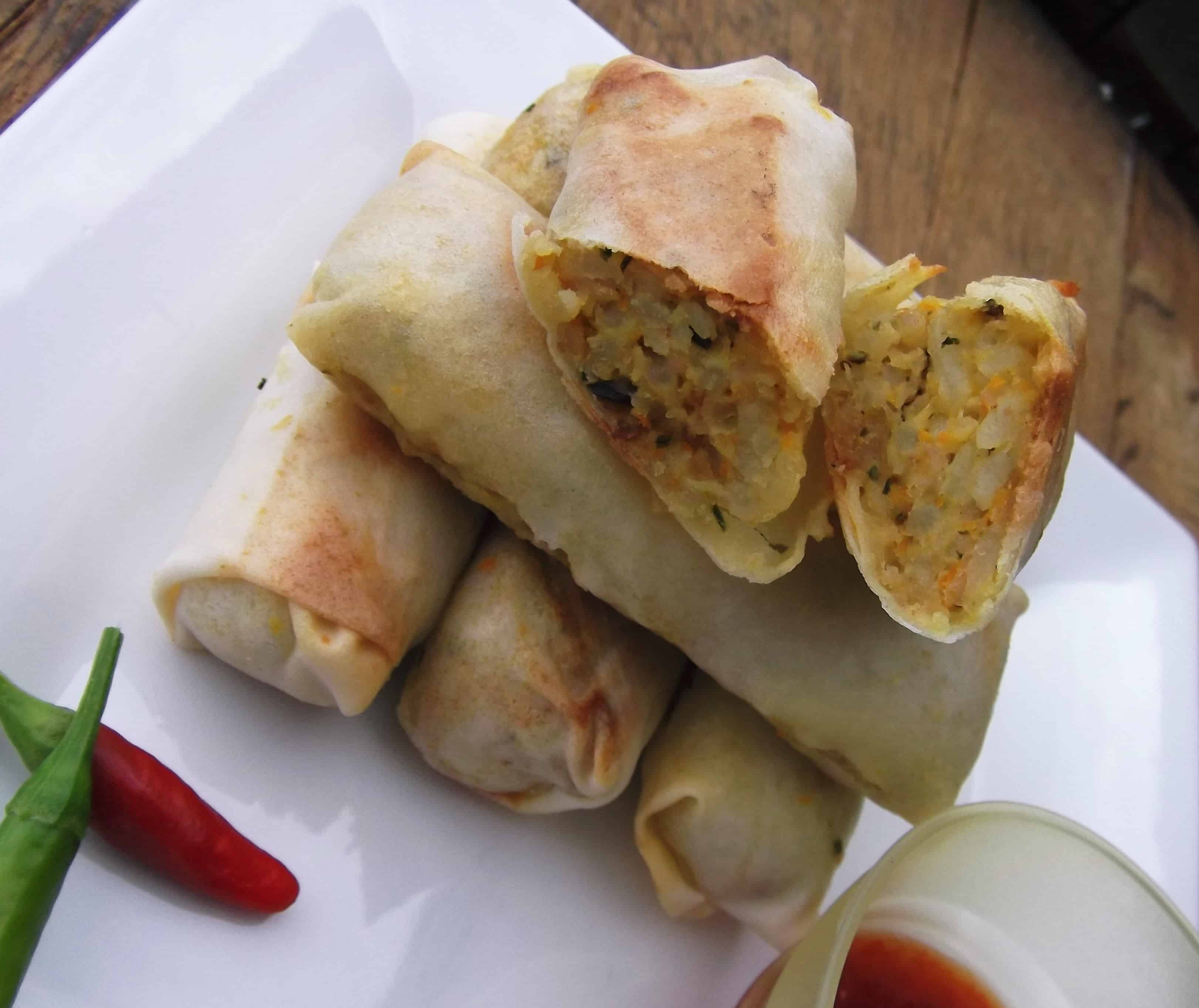 Thai minced chicken and rice spring rolles with sweet chili sauce