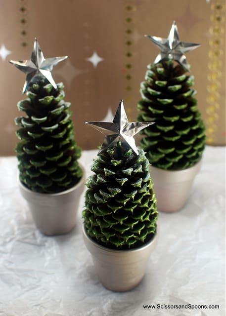 Tiny pinecone christmas trees