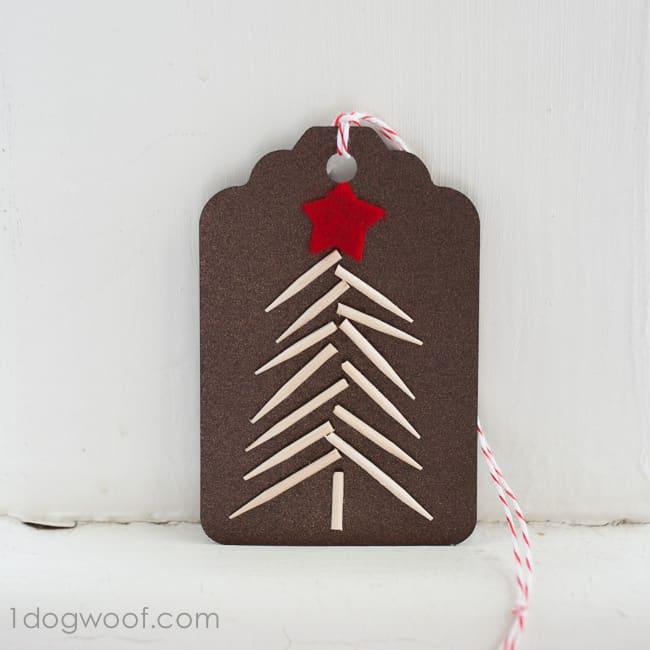 Toothpick christmas tree gift tags