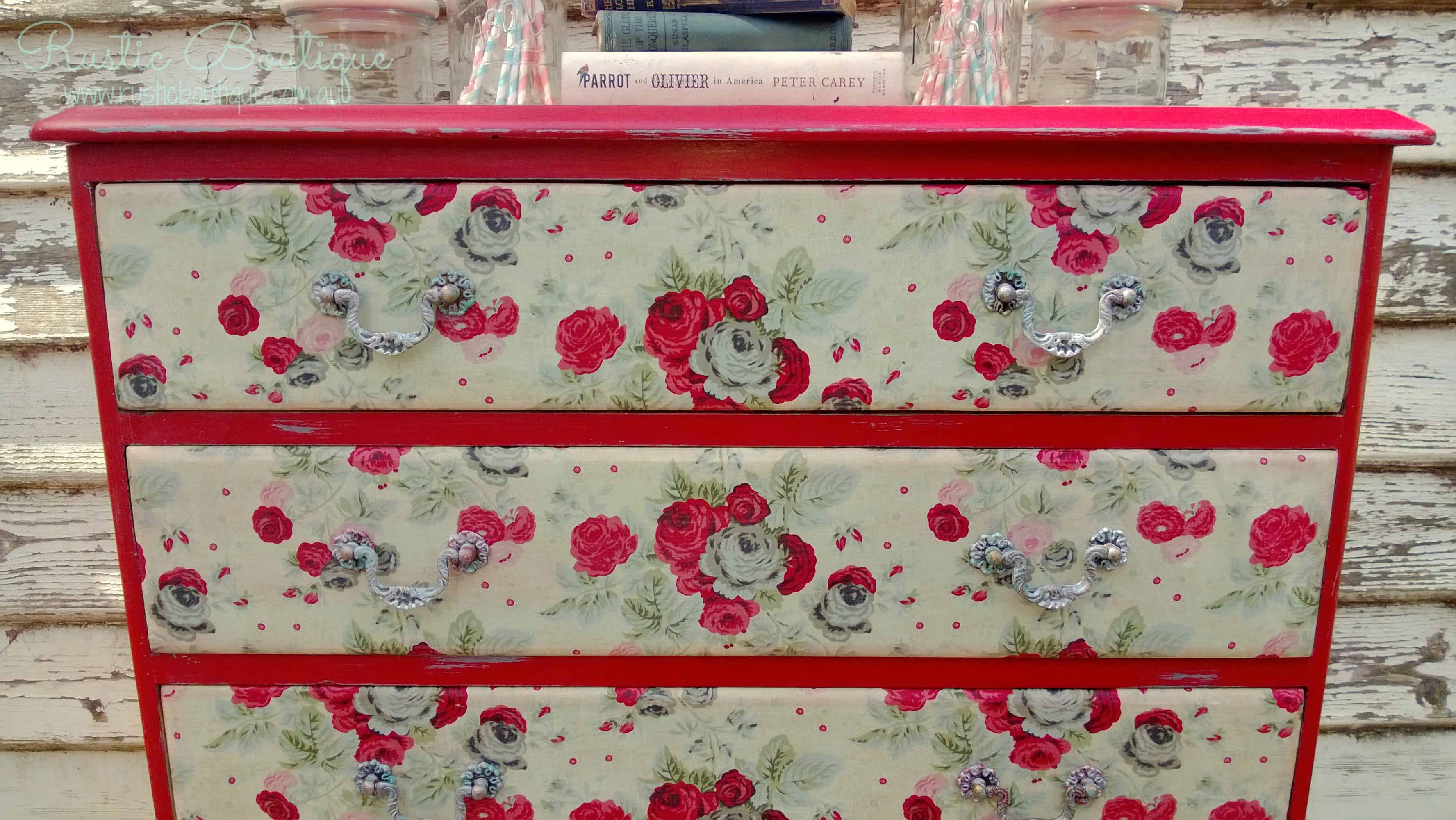 Upcycled floral decoupage dresser drawers