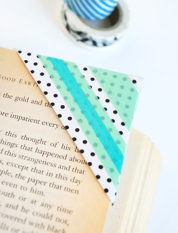 Washi tape corner bookmarks