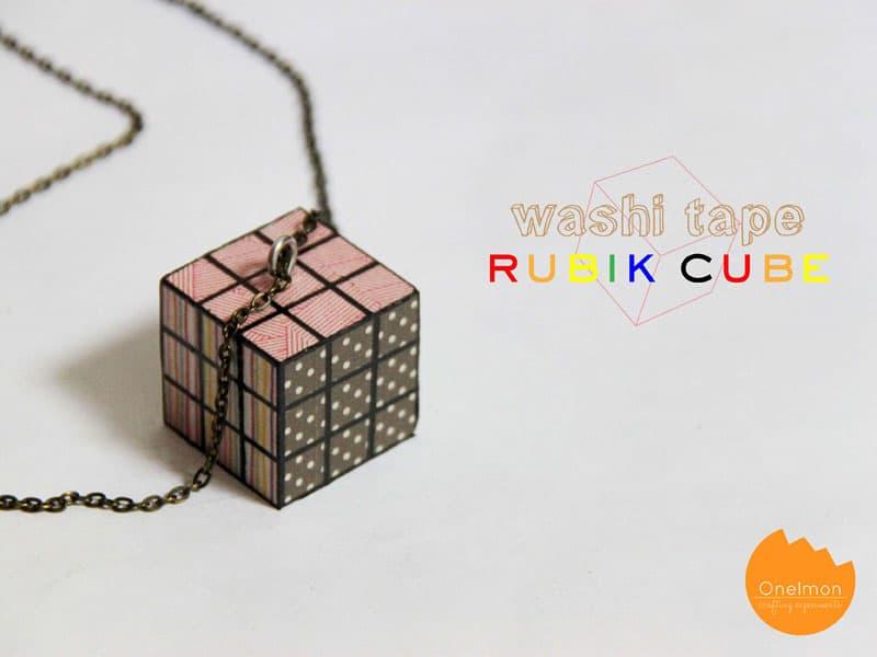Washi tape rubik cube necklace