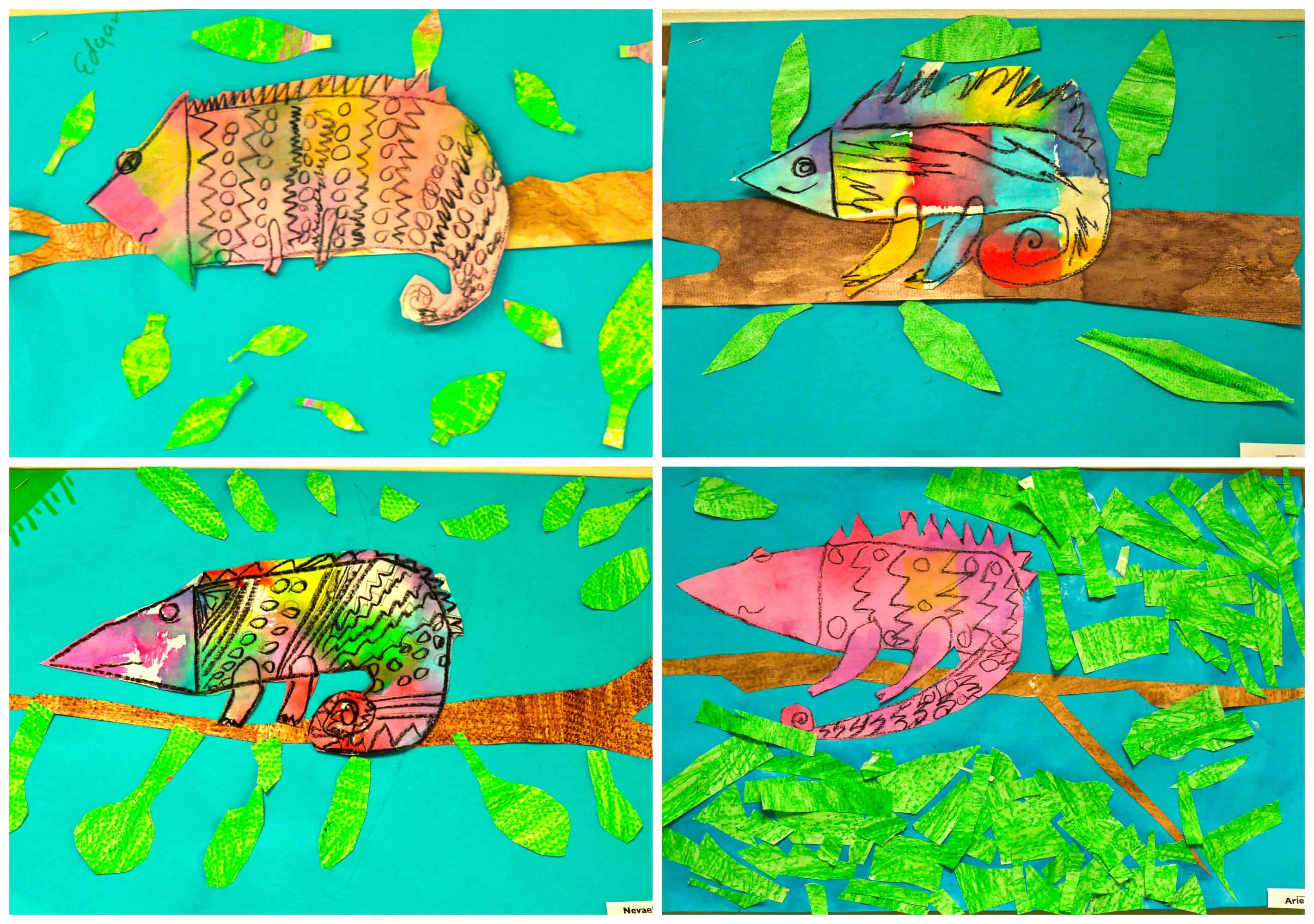 Water colour lizard collages