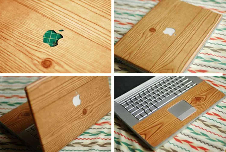 Wood grain contact paper laptop skin