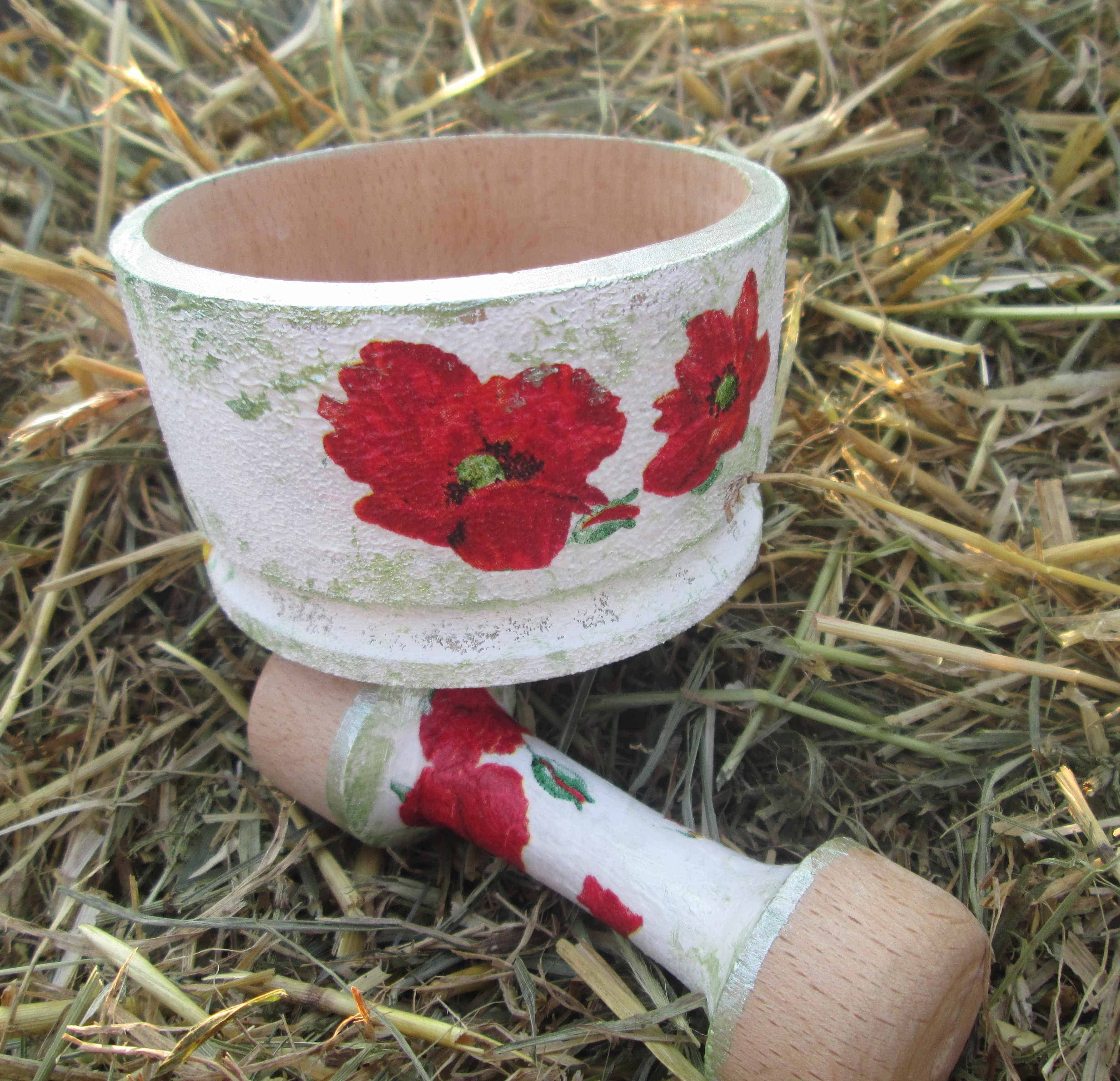 flower decoupage wooden morter and pestle