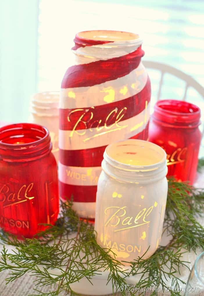 Chalky painted mason jars