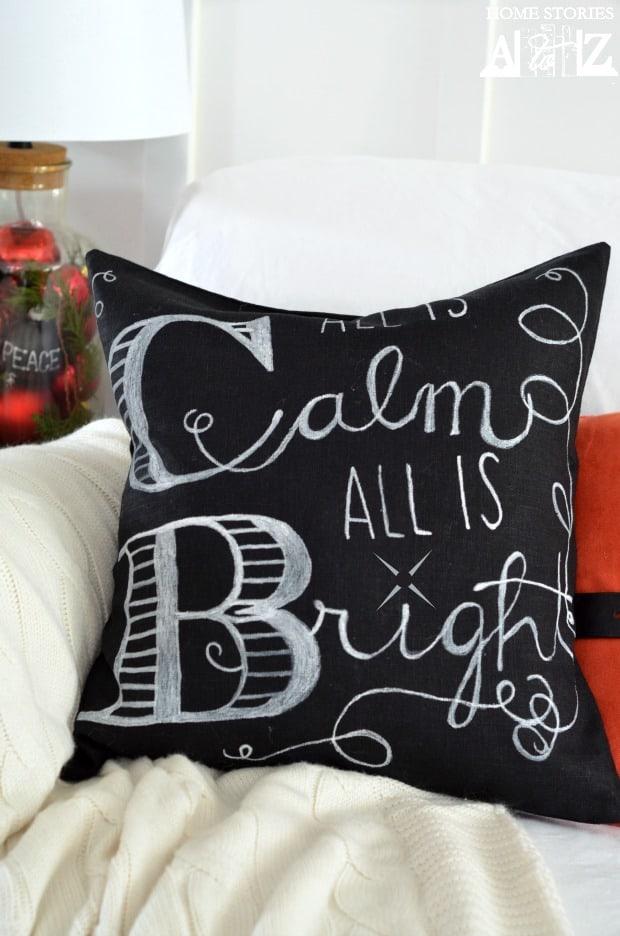 Christmas chalkboard pillow