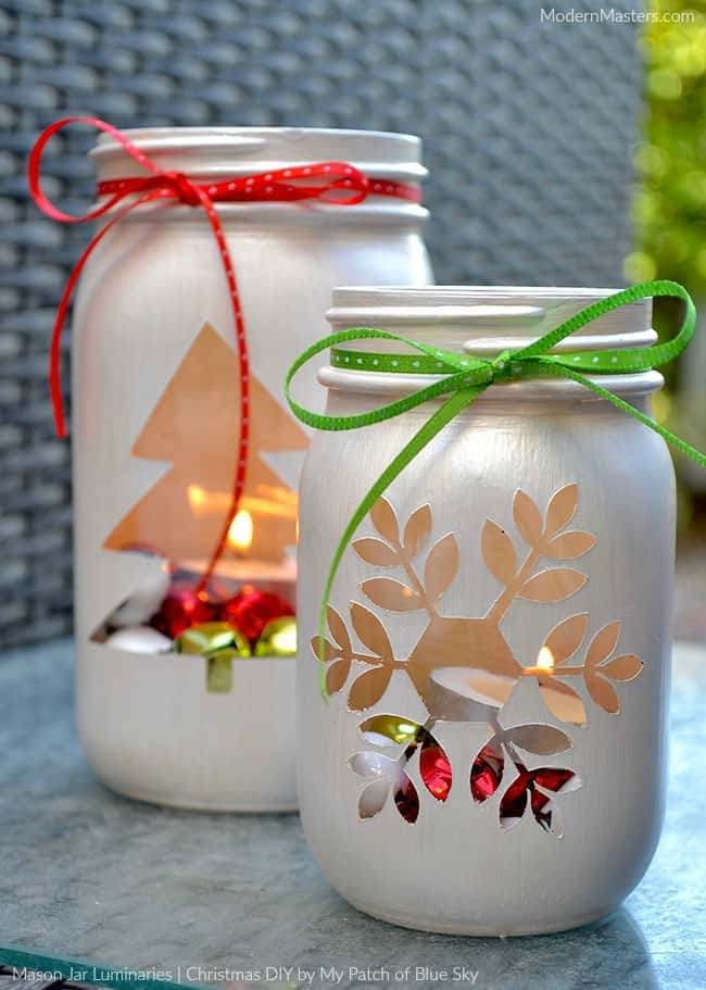 Christmas mason jar luminaries
