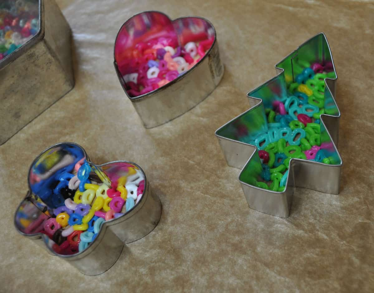 Christmas tree cookie cutter and melted bead hangers