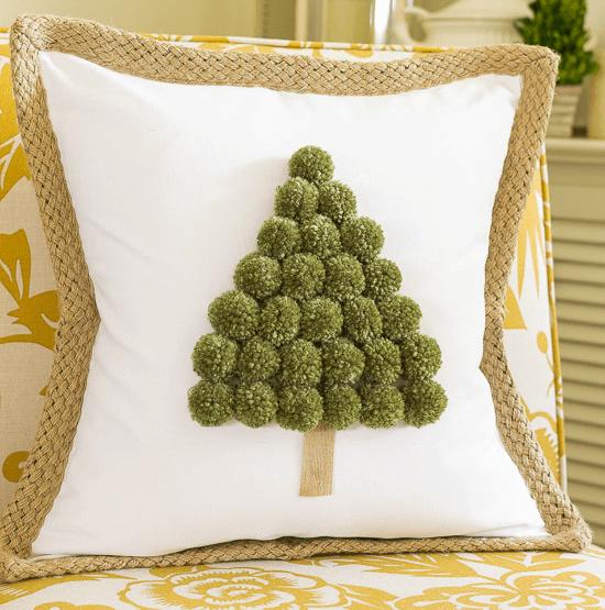 Christmas tree pom pom pillow