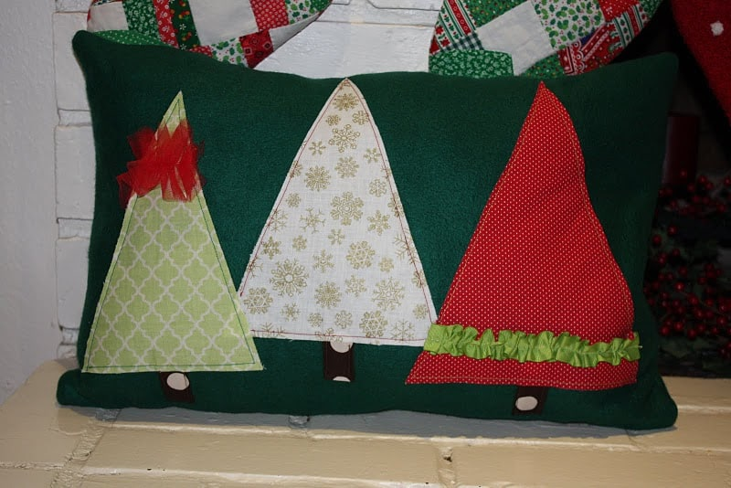 Christmas tree ruffle pillow