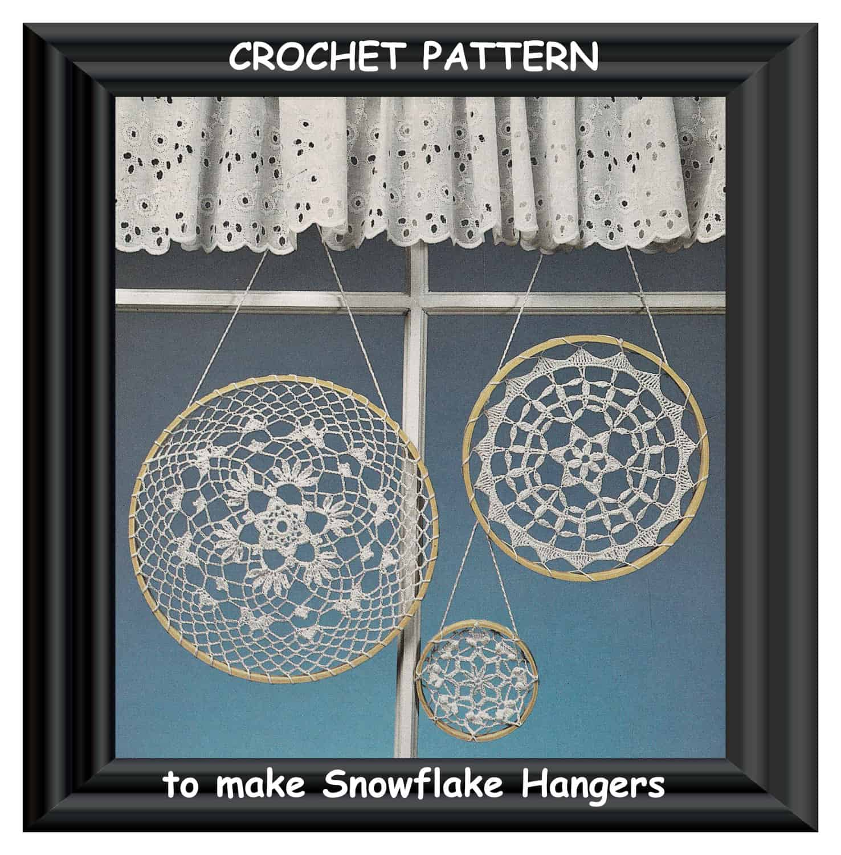 Crochet lace snowflake hanger pattern