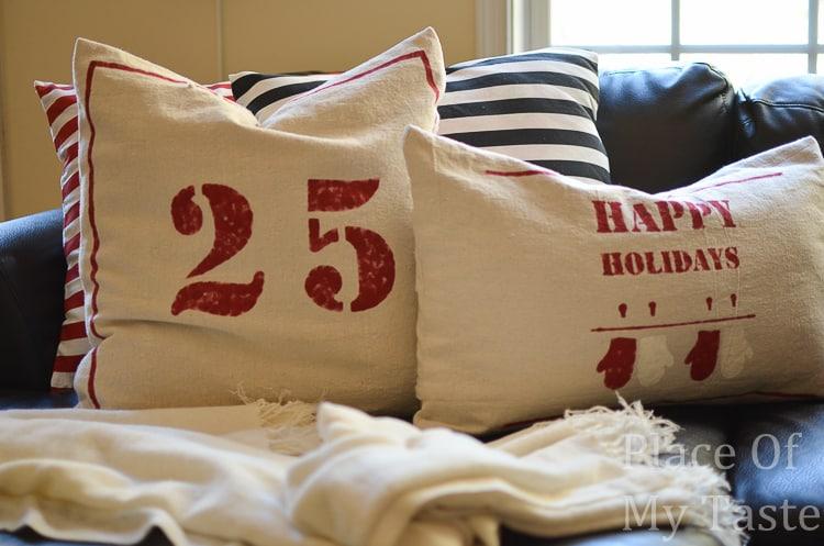 Drop cloth Christmas pillows