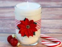 Easy homemade soy candles in a poinsettia jar 200x150 An Office Celebration: 15 Easy DIY Holiday Gifts for Coworkers