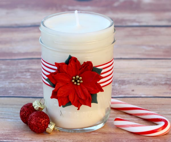 Easy homemade soy candles in a poinsettia jar