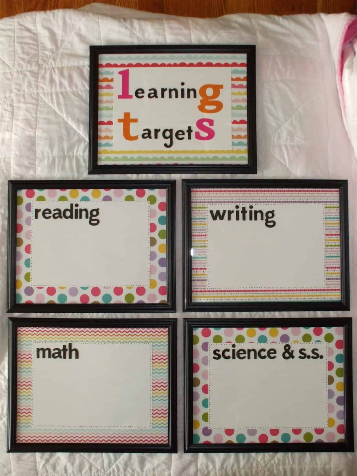 Framed dry erase learning targets for students