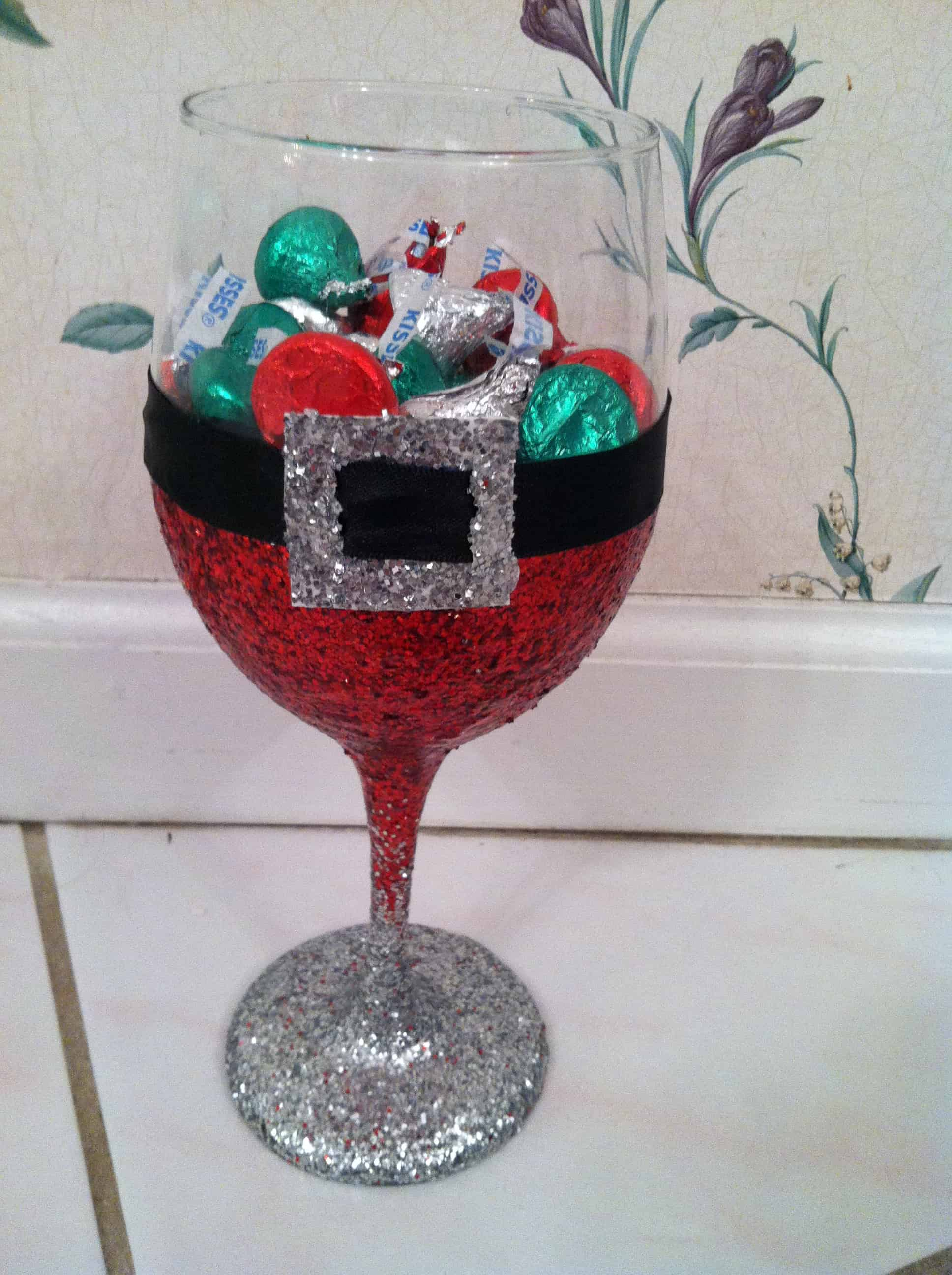 Glitter Santa wine glass