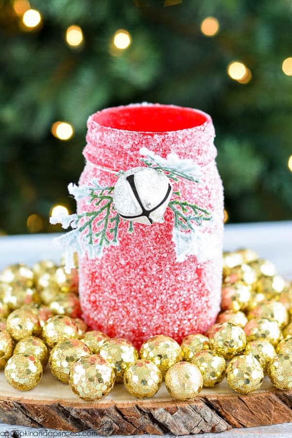 Joyful joyful diy christmassy mason jars glitter mason jar luminary solutioingenieria Images