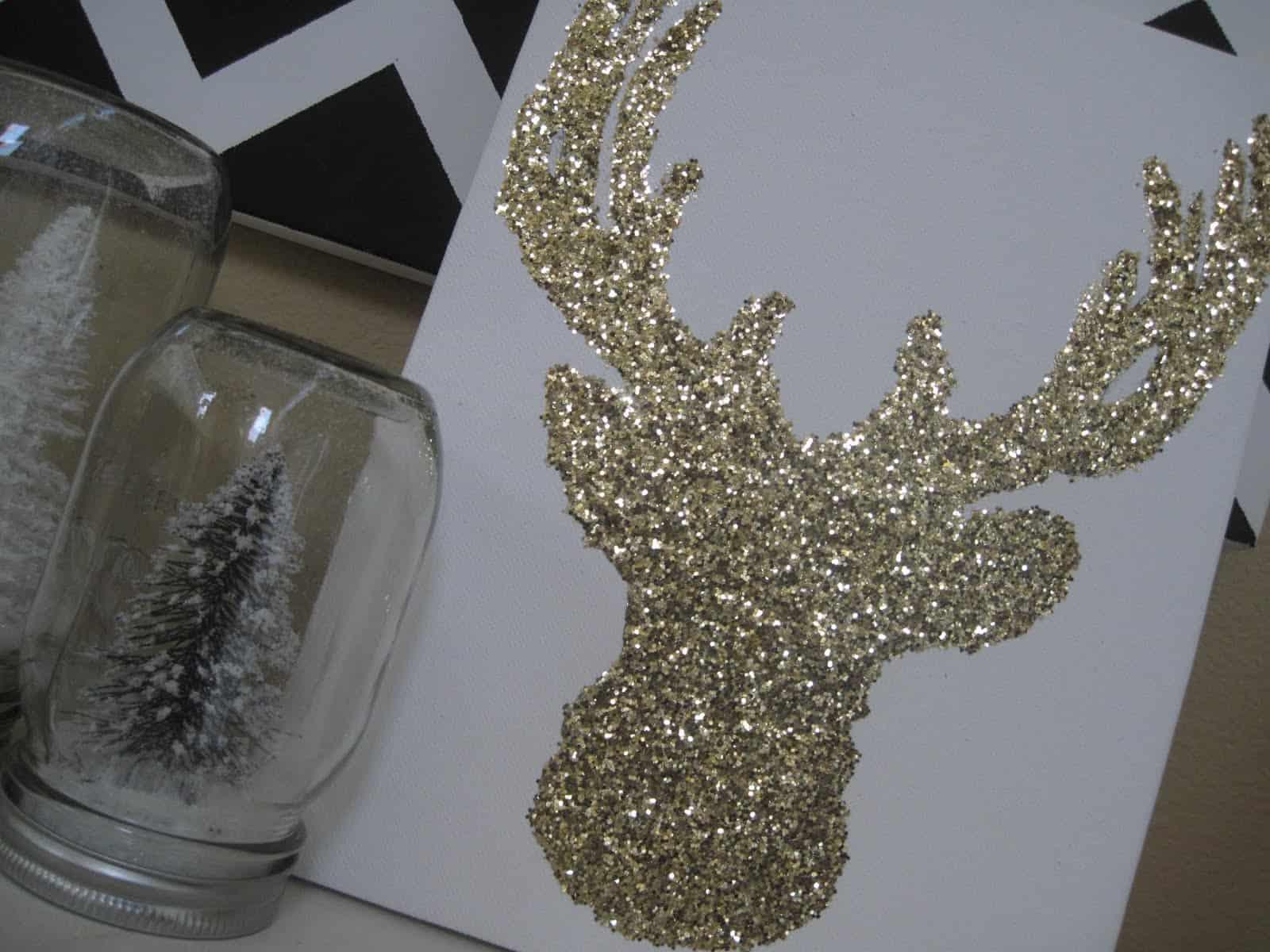 Glittered reindeer Christmas card