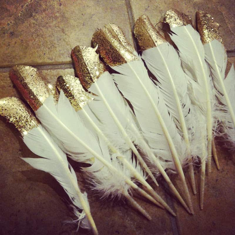 Gold and glitter dipped feathers
