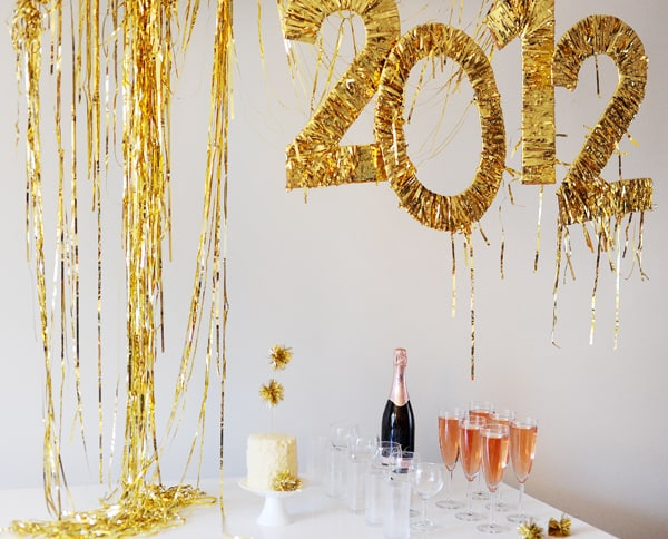 Gold fringe NYE decor
