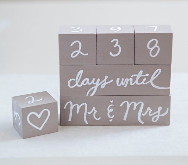 Handwritten countdown blocks