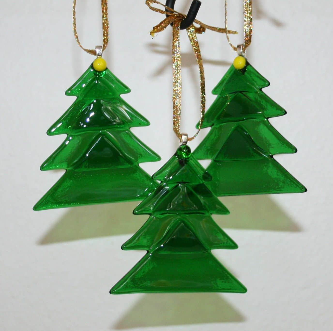 Layered 'glass' Christmas tree ornaments