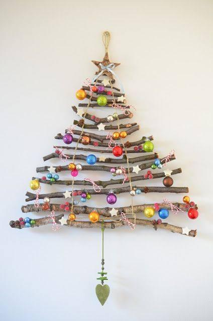 Layered twig and bead hanging Christmas tree