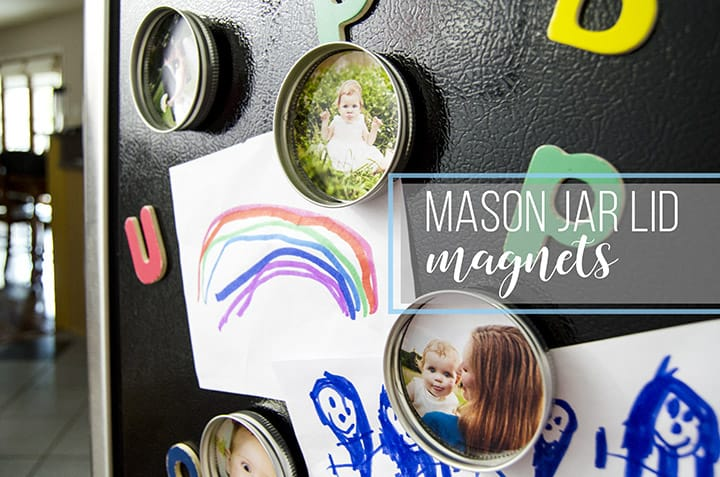 Mason jar lid and photo magnets