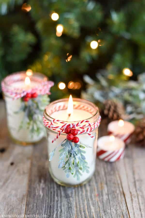 Mistletoe mason jar candle