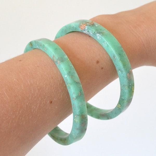 Pastel gold leaf bangle bracelets