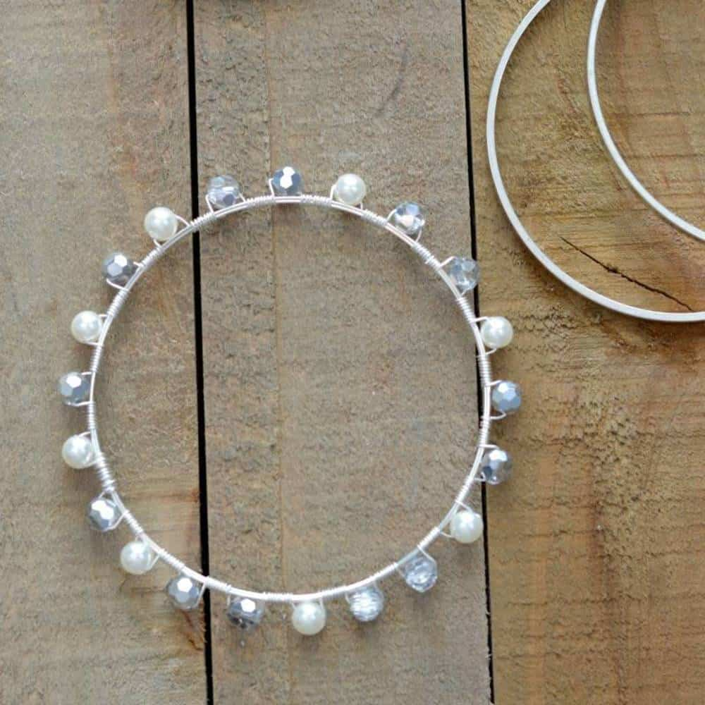 Pearl and crystal bangle bracelet