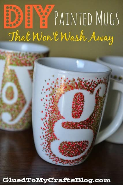 Pointillism stenciled painted mugs