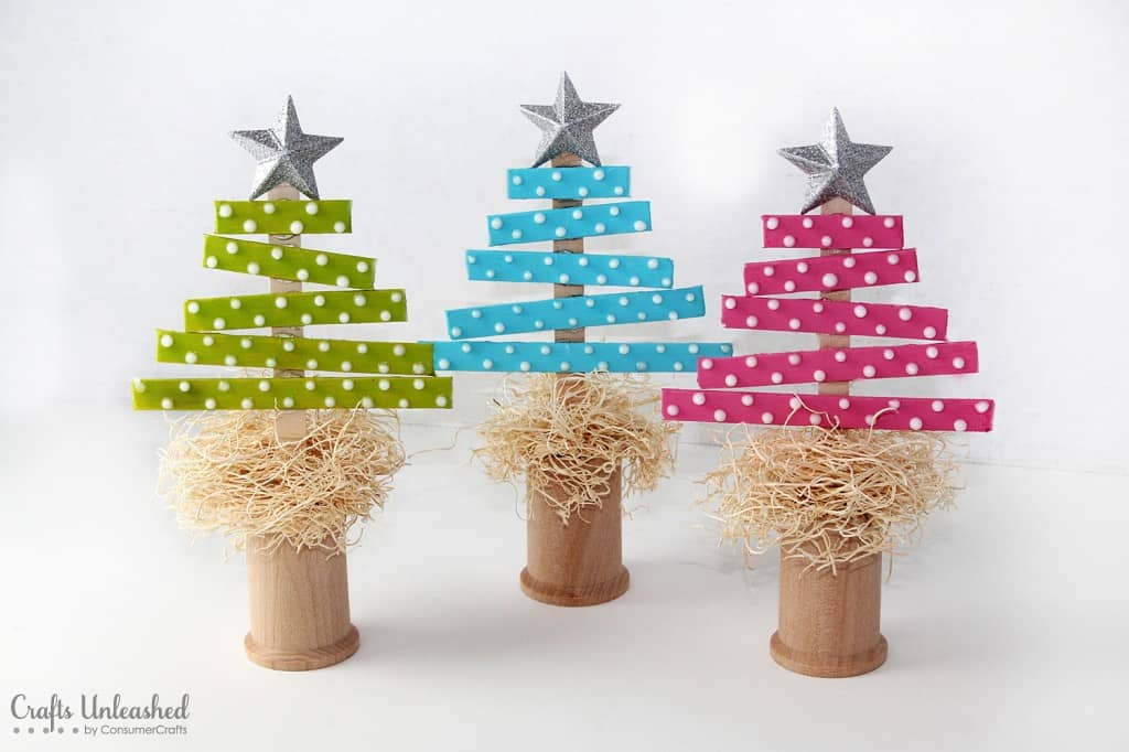 Popsicle stick and wooden spool Christmas trees