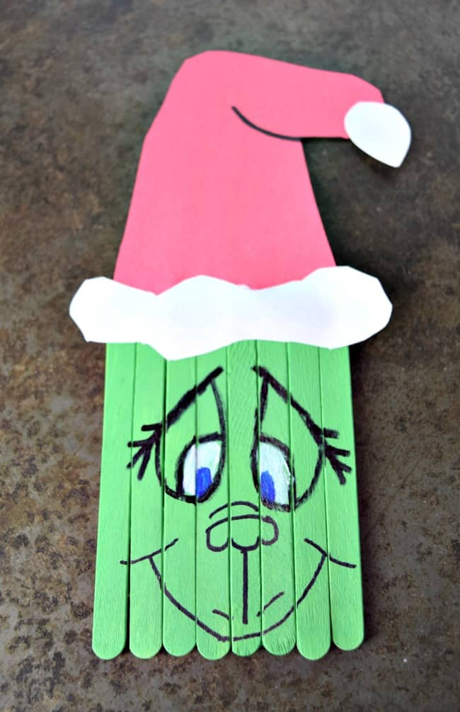 Popsicle stick grinch