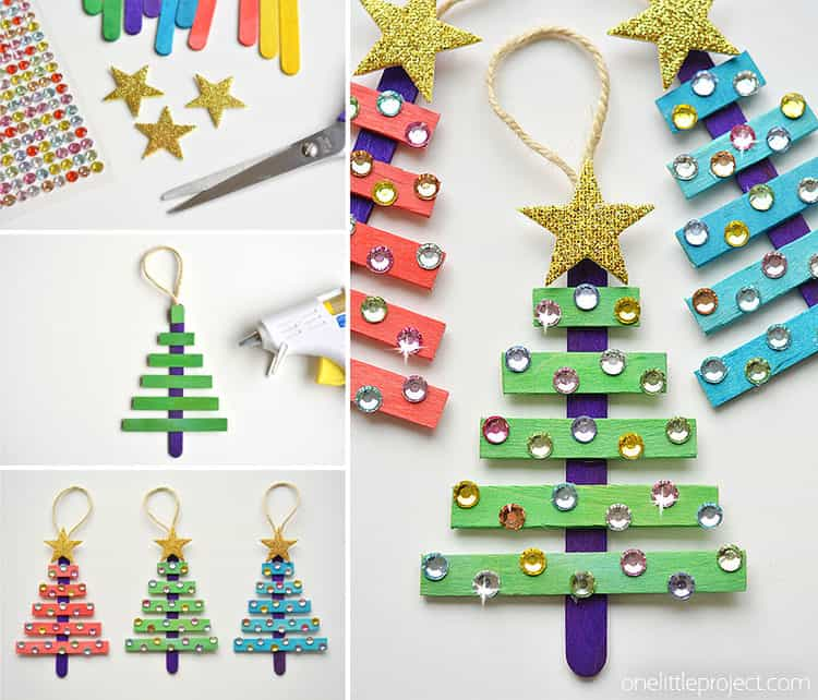 Popsticl stick and rhinestone trees
