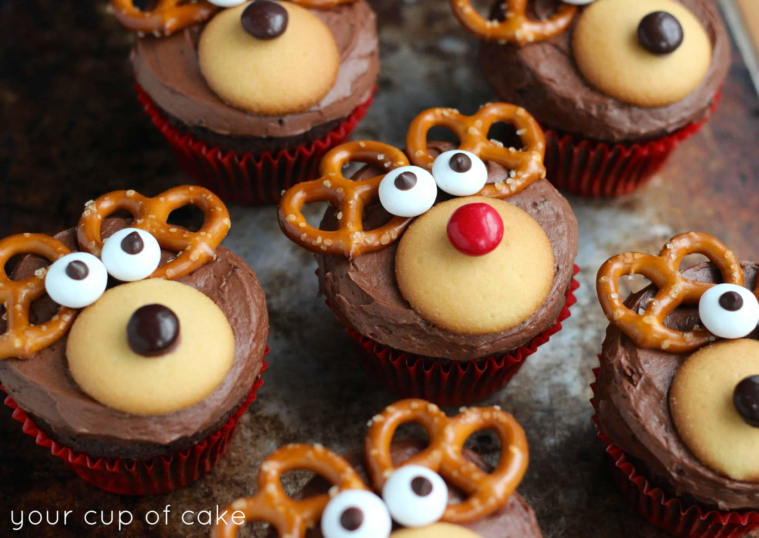Pretzel and mini cookie reindeer cupcakes